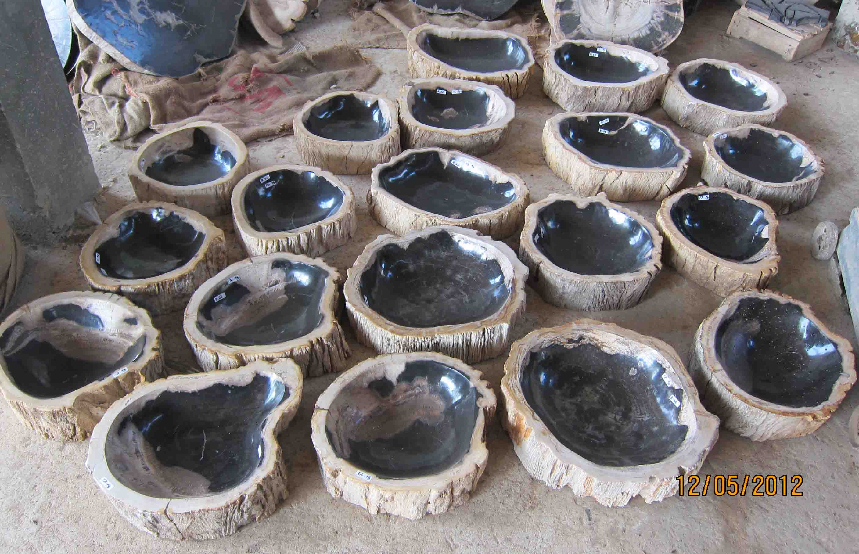 Petrified Wood Furniture - Fossil stone bowls for sale from indogemstone com